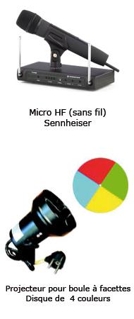 Micro HF sans fil sennheiser, Projecteur pour boules à facettes disque de quatre couleurs